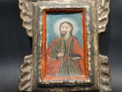 Late 19th Century Retablo of Saint Paul