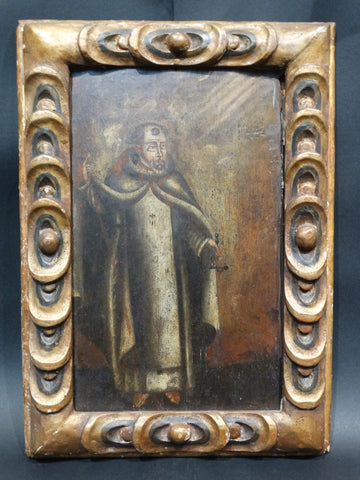A Retablo of St Francis Receiving A Vision late 18th Century