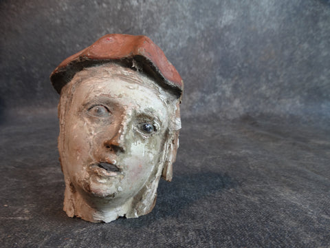 17th Century Saint Head Fragment w Glass Eyes M2141