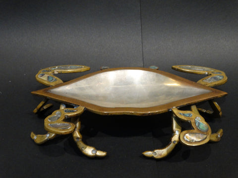 Los Castillo Mixed Metals and Inlaid Stones Crab Dish