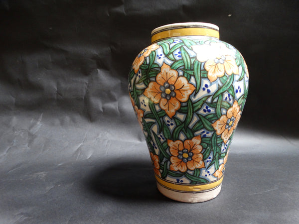 Talavera Mexican Pottery Vase Cross-hatch Leaf Design M2652