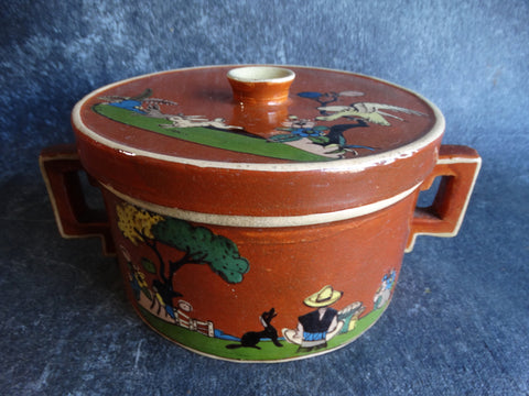 Tlaquepaque Brown Decorative Casserole c 1930s M2686