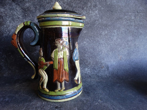 Tlaquepaque Black Low Relief Dancing Figures Pitcher with Lid