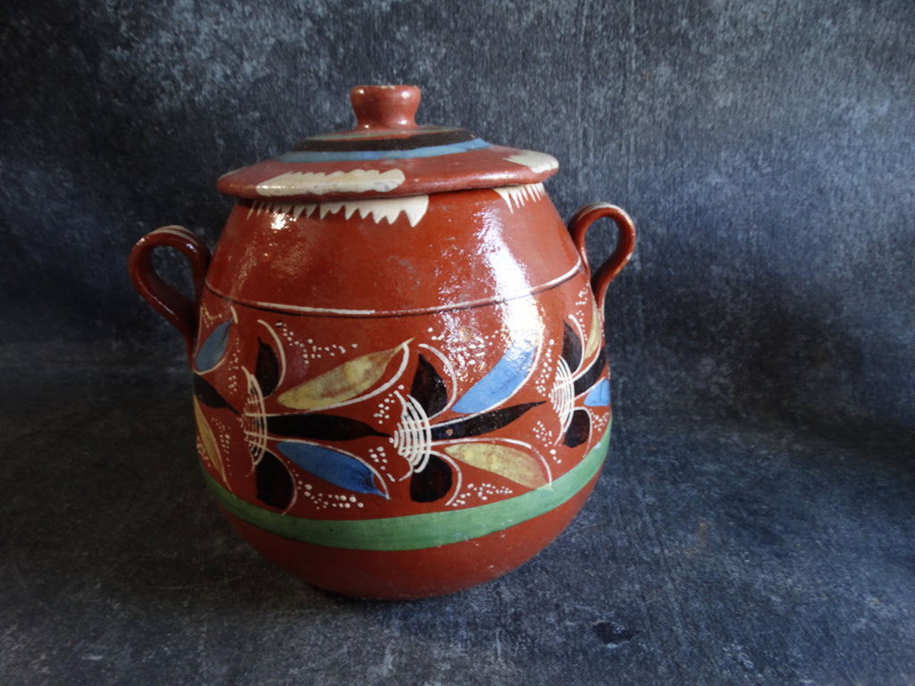 Mexican Redware Cookie Jar w Lid c1930s M2697