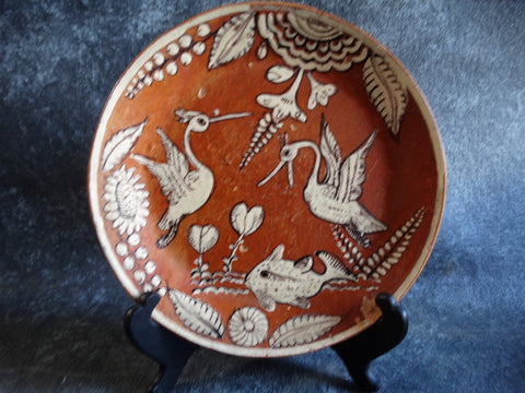Mexican Fantasia Cream and Brown Storks and Fish Plate M2708