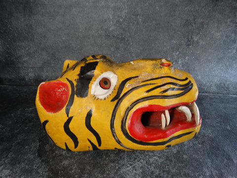 Mexican Carved Wood Tiger Mask 1950s M2732