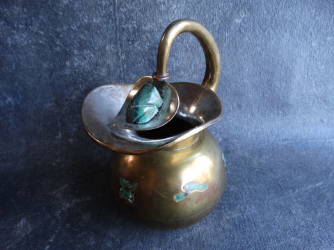 Taxco Lapis, Brass and Silverplate Frog Ice Guard Pitcher c. 1950 - M2741