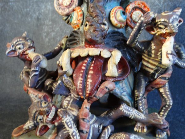 Mexican Ochumichu Pottery Tableau of Black Devils Having a Party c 1940 M2758