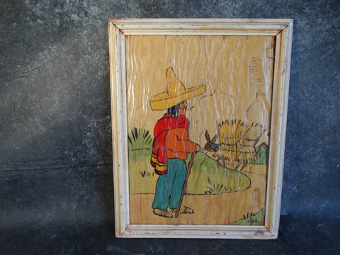 A. Ruelle Framed Decorative Panel - Campesino Out Walking Having a Smoke - 1930s M2759