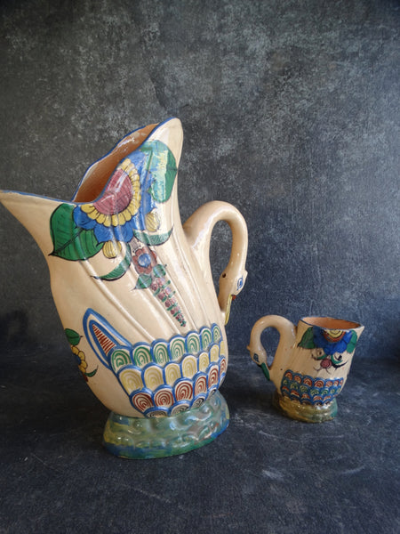 Mexican Tlaquepaque Swan Pitcher and 6 Drinking Jugs Beverage Set circa 1930s M2765
