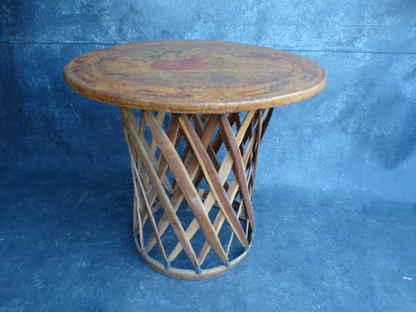 Courting Couple Equipale Mexican Leather Topped Table circa 1940 M2767