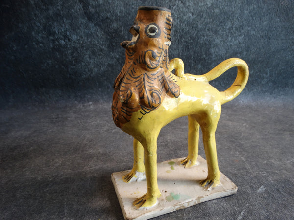 Spanish Pottery - Grotesque Lion Candleholder 18th Century M2788