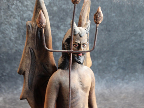 Tlaquepaque Clay Figure c 1940:  Devil with Pitchfork #2 M2790