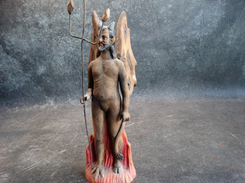 Tlaquepaque Clay Figure c 1940:  Devil with Pitchfork #3 M2791