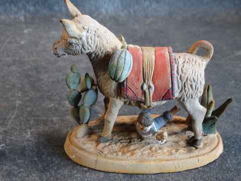 Tlaquepaque Clay Figure c 1930s:  Boy Trying to Saddle a Very Naughty Donkey M2804