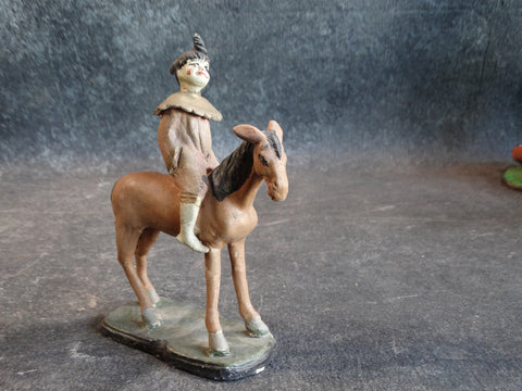 Tlaquepaque Clay Figure c 1930s:  Clown on a Donkey M2805