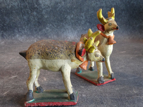 Tlaquepaque Clay Figures c 1940:  Pair of Reindeer M2806
