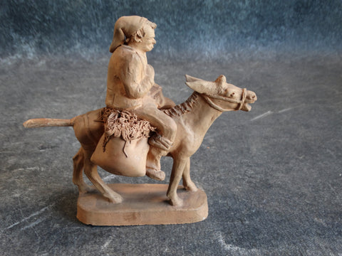 Grasso Italian Bisque Peasant Riding a Donkey Laden with Produce Figure M2814