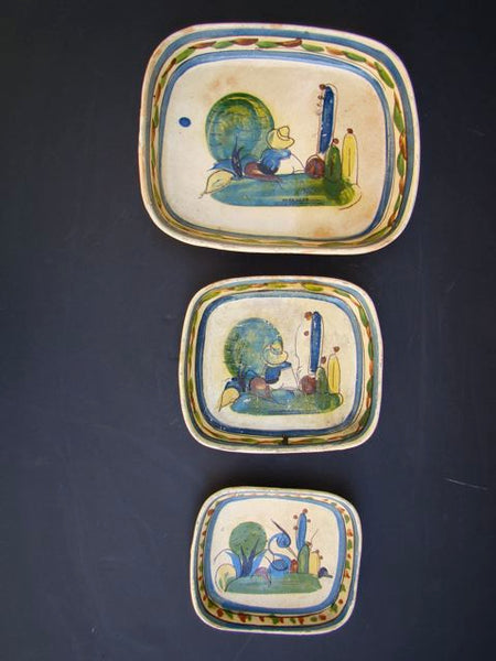 Mexican Burnish Ware Set of 3 Trays