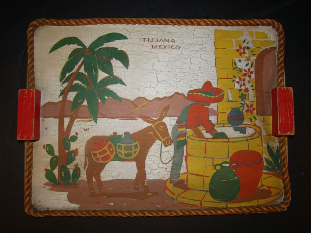 Mexican Hand Painted Wood Tray