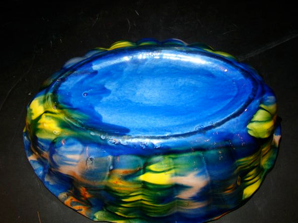 Mexican Swirl Glazed Scalloped Bowl