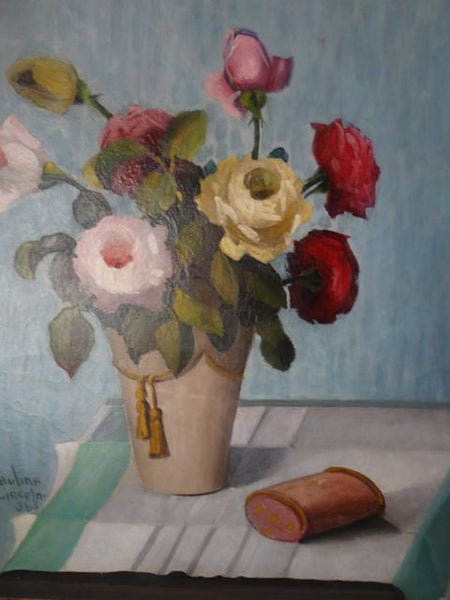 "Paulina Lincoln ""Roses in Vase"" 1930s Oil on Canvas"