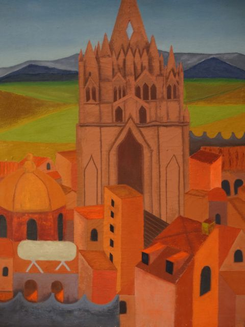 "Alfredo Perez, ""Mexican Church and Village"""