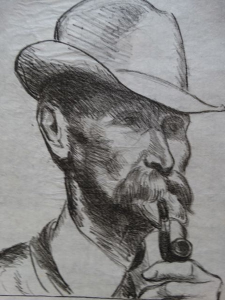 Ejnar Hansen, Lithograph of Man with Hat and Pipe