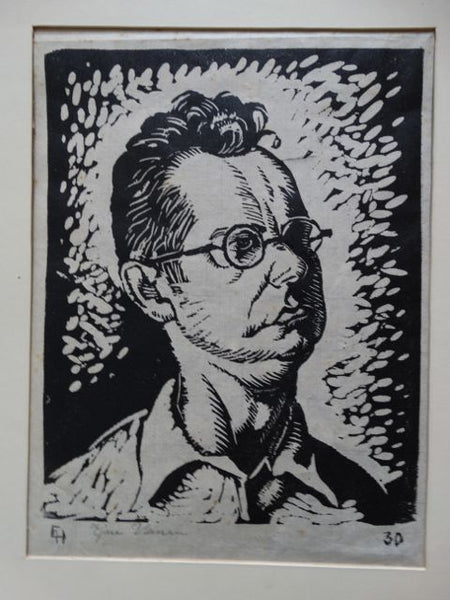 Ejnar Hansen, Man in Round Glasses Woodblock