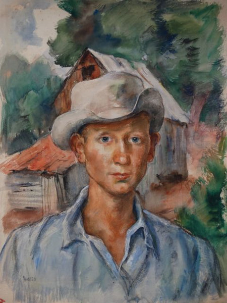 Ejnar Hansen, Watercolor of California Ranch Hand