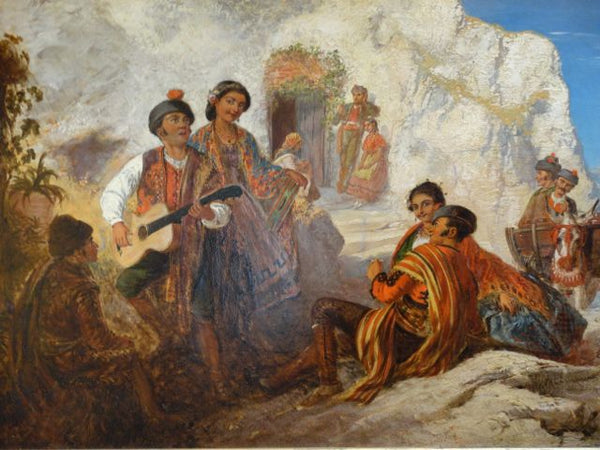 19th Century Spanish Peasants Oil On Canvas
