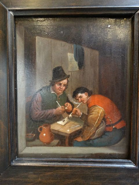 The Smokers Oil on Tin probably 19th Century