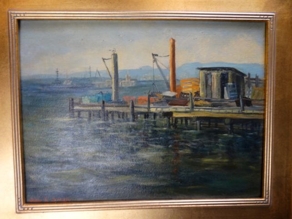 Willa Willa Smith (1913-2000) San Diego Waterfront by Old Ferry Landing Near Fish Market Oil on Board