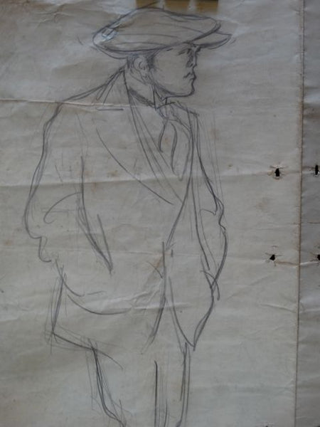 Ejnar Hansen Sketch of a Man in Golf Cap