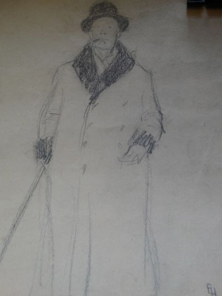 Ejnar Hansen Drawing of Businessman