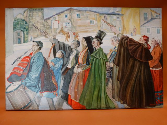 Basque Peasant Wedding Procession Henry Van Schie 1937 Oil on Canvas