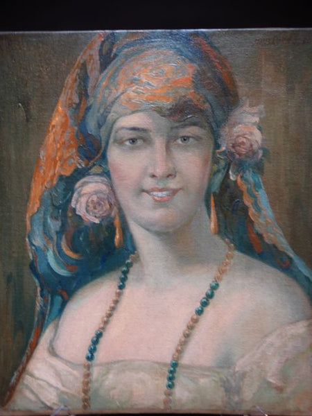 James Korn Spanish Señorita Oil on Canvas 1930