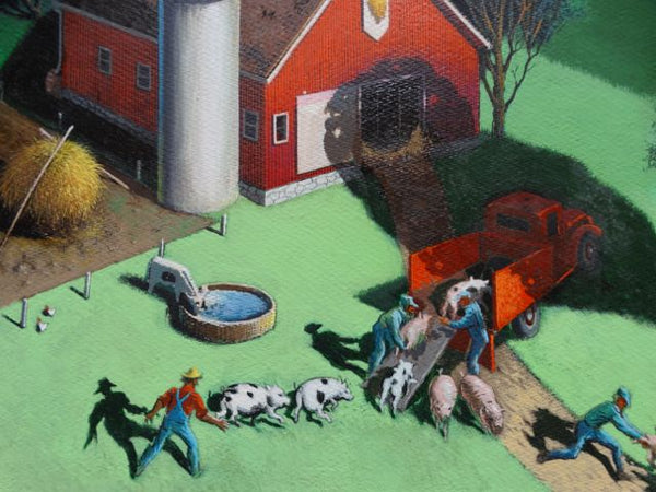 Irv Wyner Farm Scene with Piggies