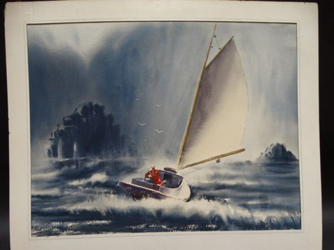 Irv Wyner Sailing in a Squall Watercolor