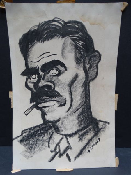 Charles Putnam Safford Mustachioed Leftist Charcoal and Ink on Paper