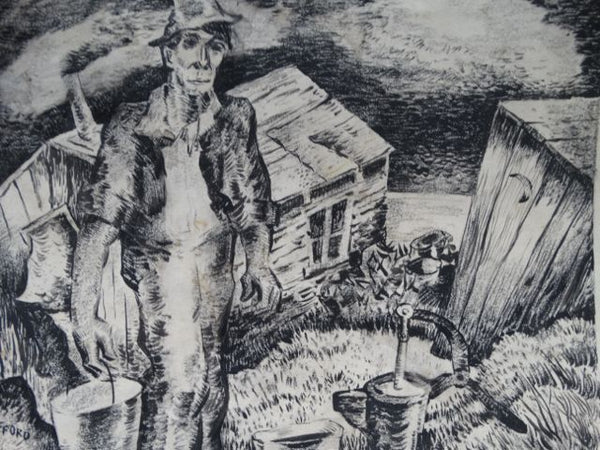 Charles Putnam Safford Fetching Water Charcoal and Ink on Paper