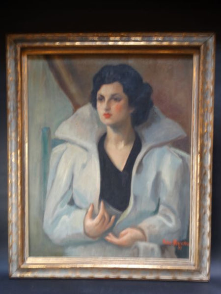 Portrait of a Woman in a Coat Oil On Canvas by Rachel Rubinstein 1937