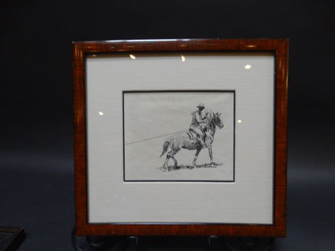 Edward Borein Roping A Steer Ink Study
