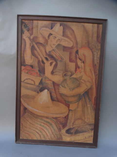 Mexican Serenade Oil on Board 1930s signed E. Lewis