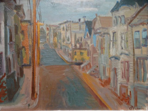 "Anders Aldrin San Francisco ""Up Street"" 1943 Oil on Board"