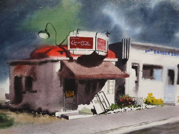 Irv Wyner Corner Store with Coca Cola Sign Watercolor
