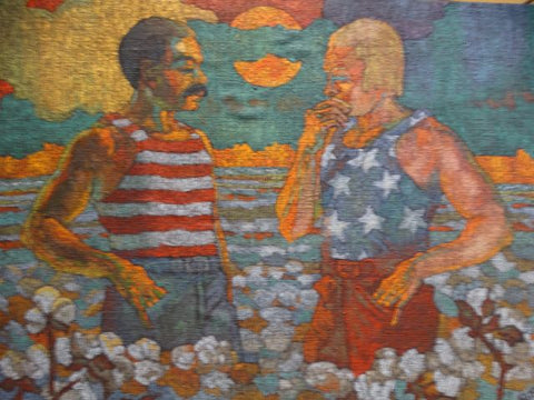 """Red White and Blue"" Folk Art Oil on Stretched Burlap c. 1972"