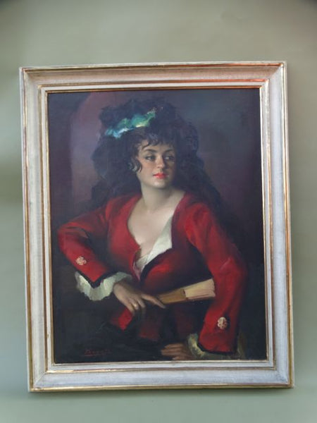 José Puyet Spanish Lady Oil On Canvas