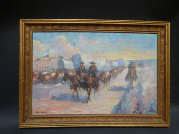 Travis Wood Wagon Train Oil On Masonite