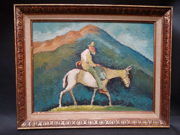 Old Prospector On A Mule Oil On Board